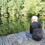 Carl Siebentritt looks out at pond