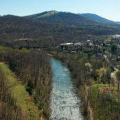 Drone image of the Rivanna River