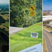 from left to right, aerial image of Prince William County, image of rural crescent sign, aerial image of a data center in Loudoun County