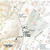 map that shows the neighborhoods around Tonsler Park, including the proposed trail