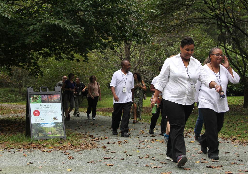 Pilgrims walking the Monticello Trail
