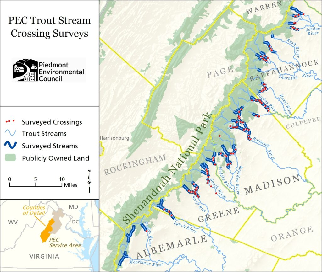 map of trout streams surveyed with crossings indicated