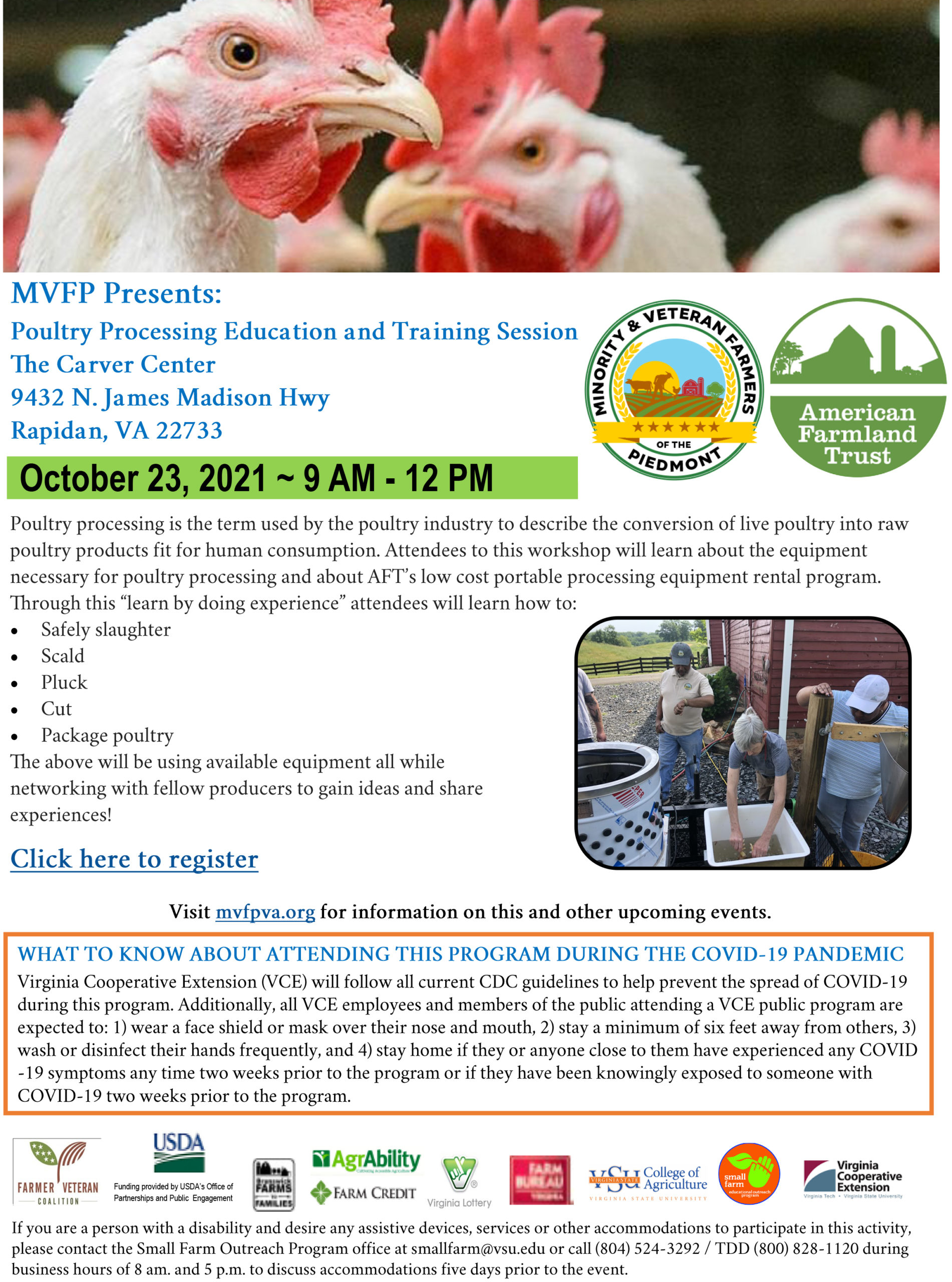 Poultry Processing Education and Training Session flyer with images of roosters