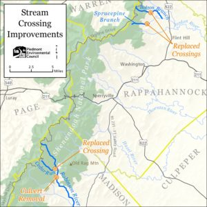location of replaced stream crossings