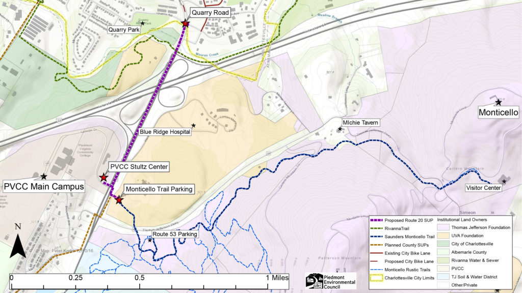 Map of Route 20 Shared Use Path route