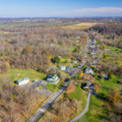 drone image of the village of aldie