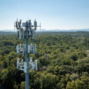 a monopole cell tower over trees