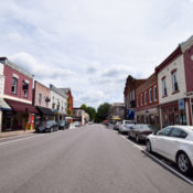Davis St in Culpeper with cars and old buildings.