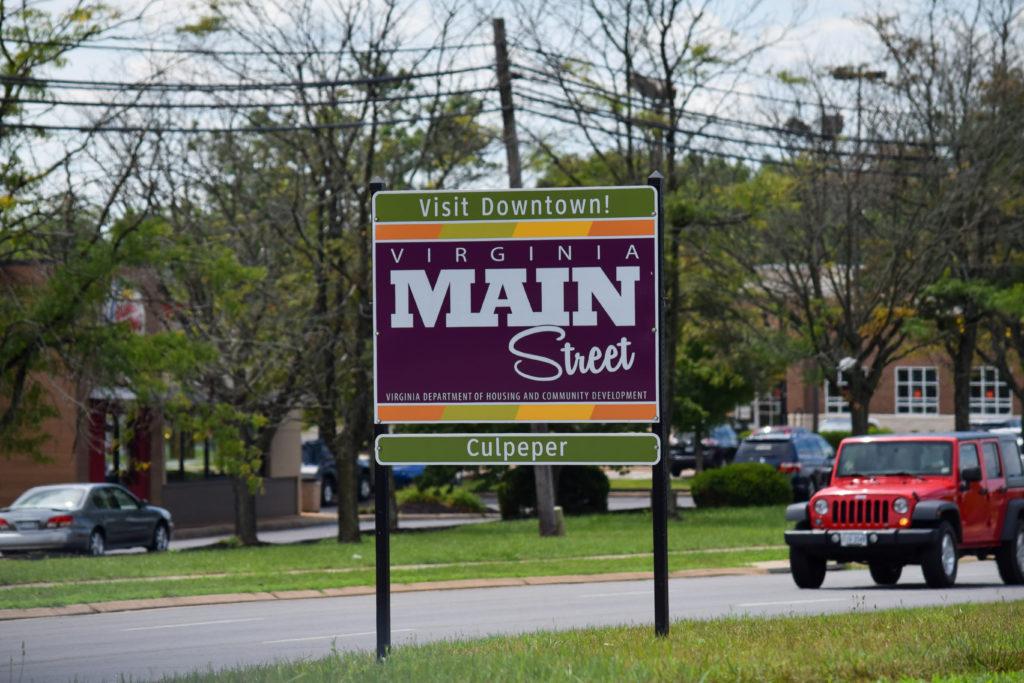 A Main St side on a road median in Culpeper.