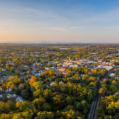 aerial image of downtown Culpeper in the spring, during a sunset