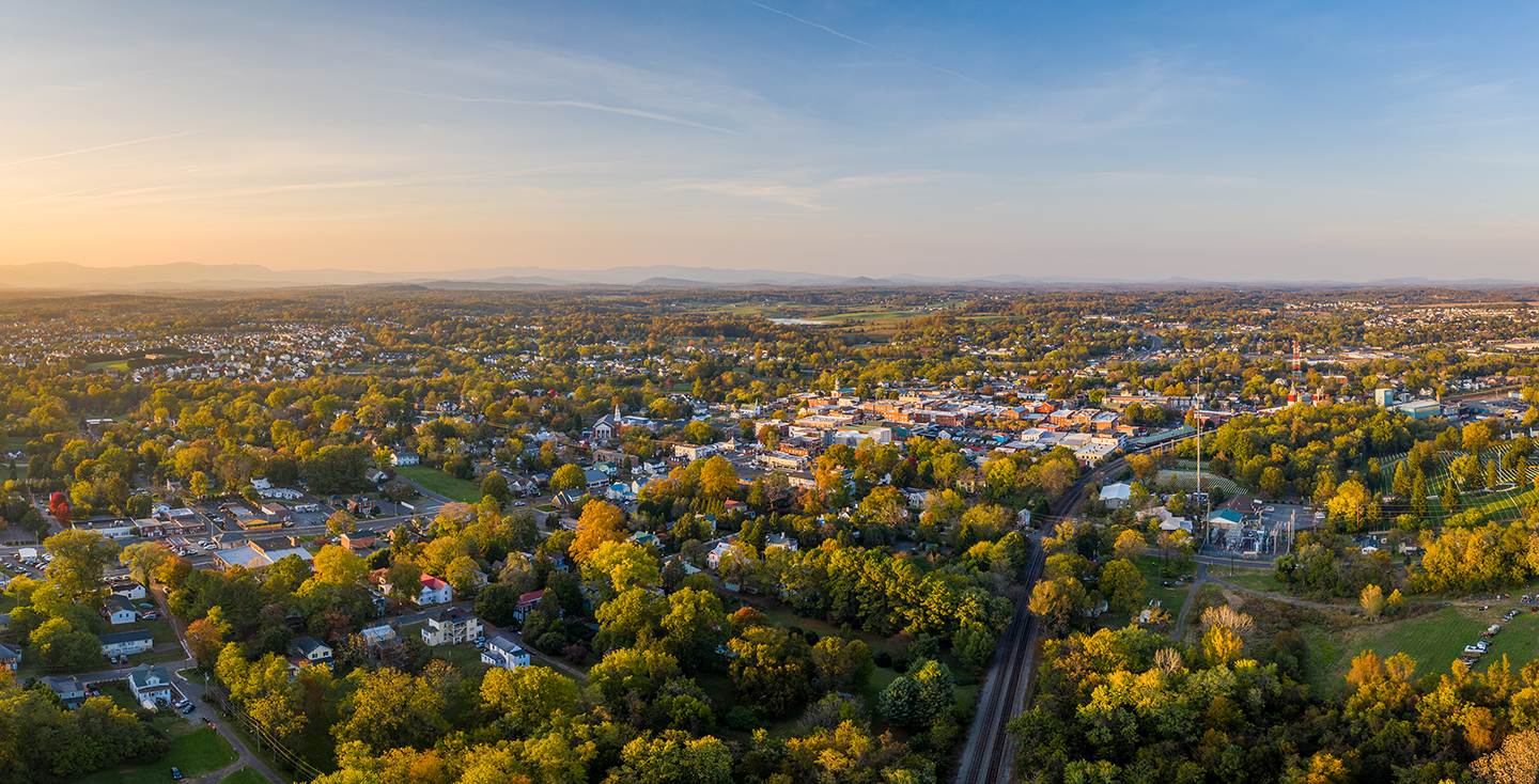 aerial image of downtown Culpeper in the spring