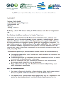 Our Letter to Loudoun County re: Smart Growth Approach