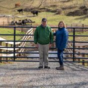 Carina and Dean Elgin at their fence.