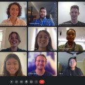 15 people videoconference in Google Meet