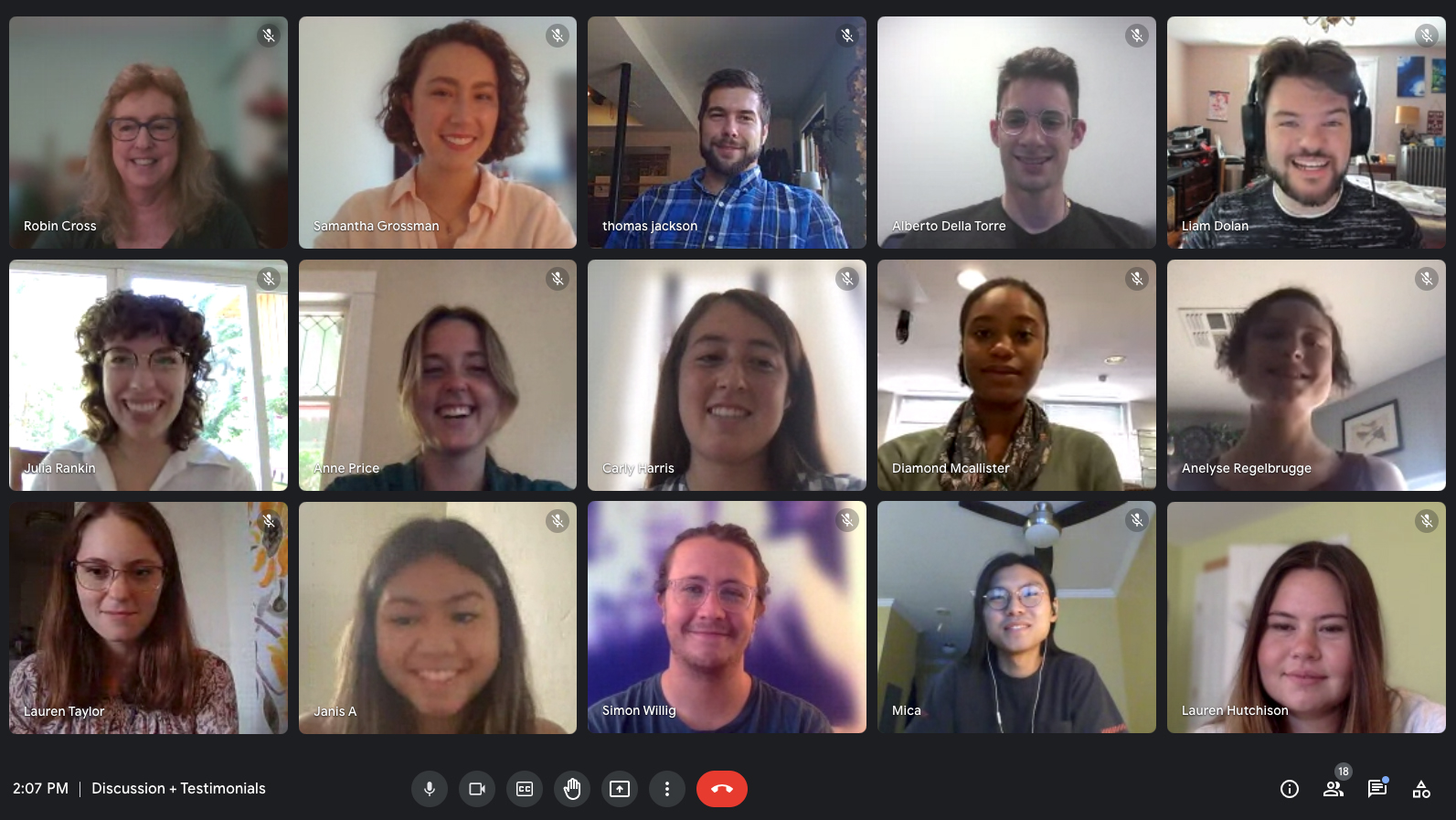 15 people on a Google Meet video teleconferencing screen.