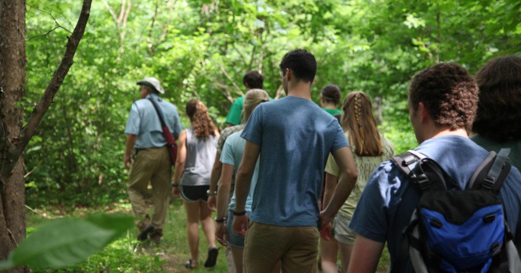 Fellows on a tour of the Bruce Jones Nature Sanctuary