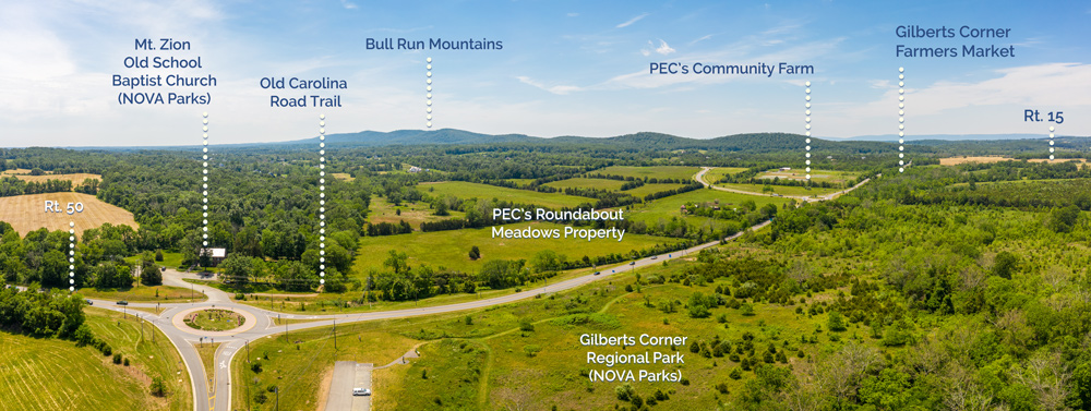 PEC's Roundabout Meadows and surrounding properties panorama.