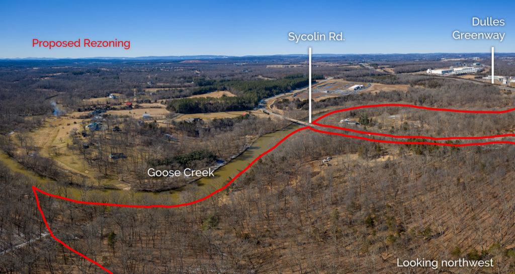 aerial photo of goose creek overlook rezoning looking northwest