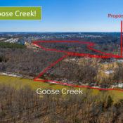 aerial of proposed goose creek overlook rezoning