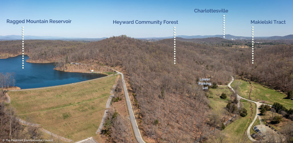 aerial photo of ragged mountain reservoir, heyward community forest