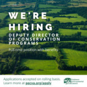 """aerial image of green farmland with white text that says """"we're hiring deputy director of conservation programs full-time position with benefits"""""""