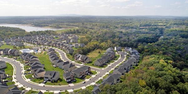 Drone image of suburban sprawl.