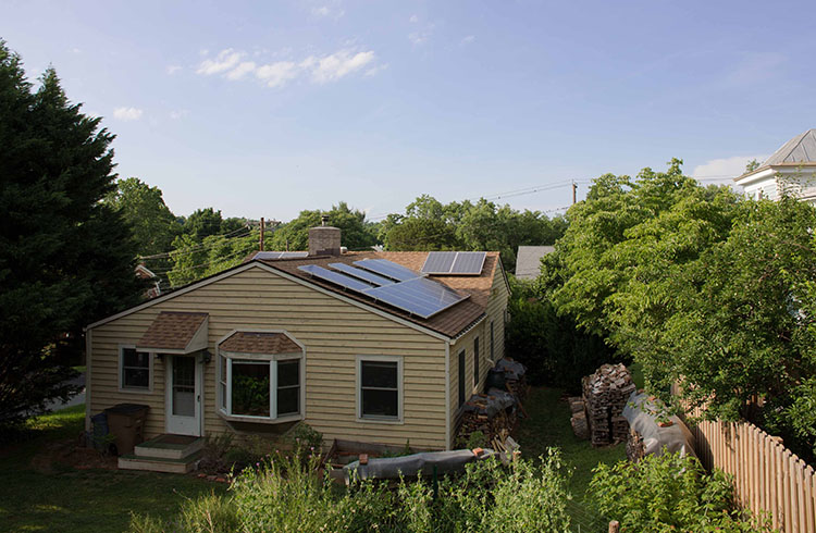 A suburban house with solar panels.