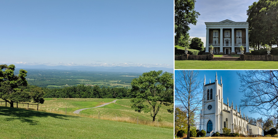 collage of three images, on farm landscape, two historic buildings