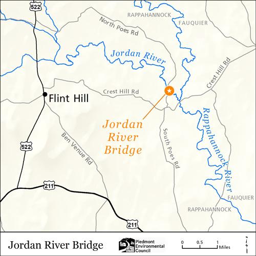 map of the jordan river bridge in rappahannock county