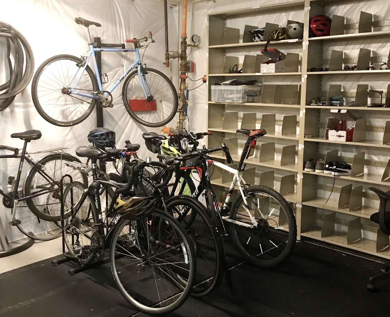 Albemarle-based Commonwealth Computer Research, Inc. transformed one of its storage rooms into a bike locker. (Photo: Amanda Poncy)