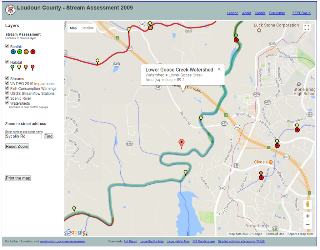 Loudoun stream assessment mapping