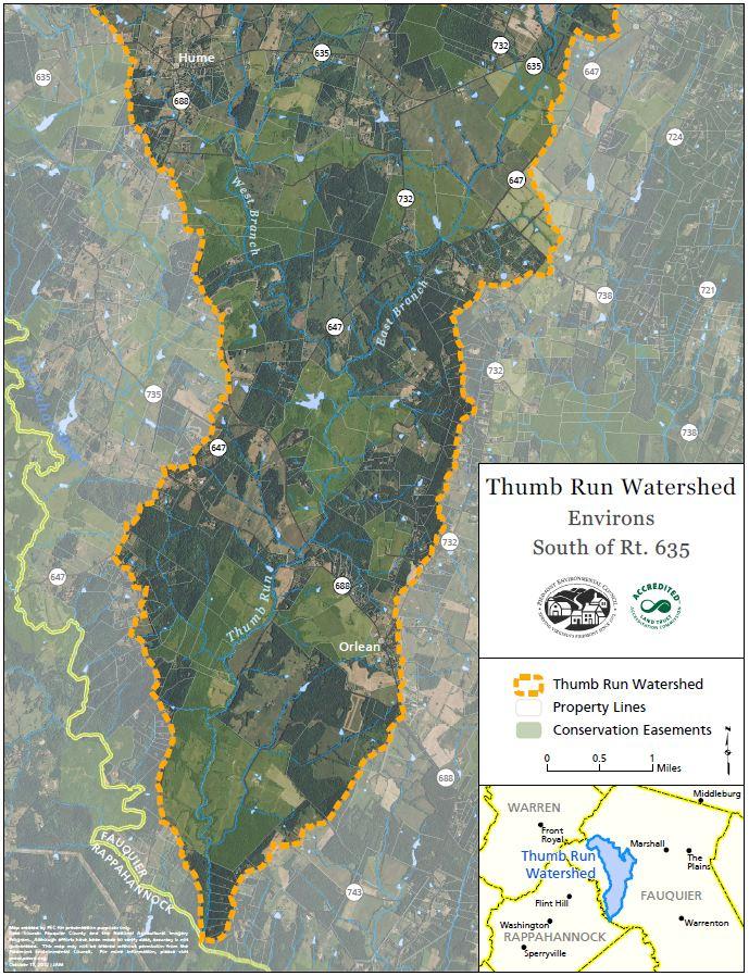 Map of Thumb Run Watershed