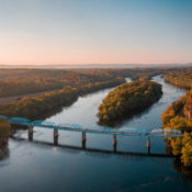 an aerial image of a bridge over the potomac river