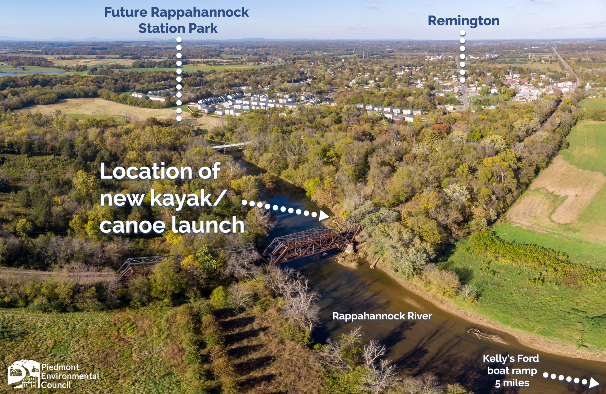 aerial image of Rappahannock river with boat launch marked