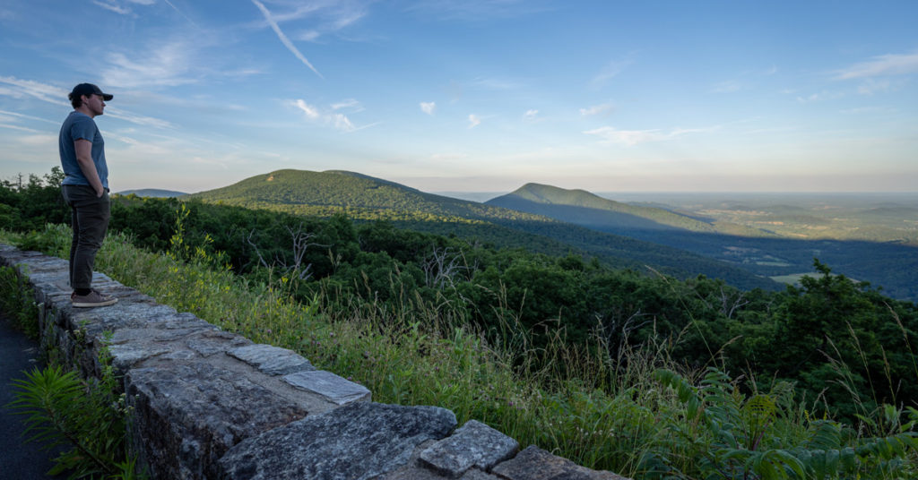 standing at an overlook in shenandoah national park