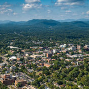 Charlottesville surrounded by countryside