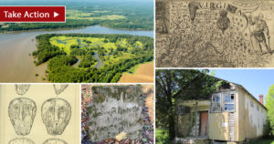 photo collage: Weyanoke, old map of the Chesapeake, tion of Virginia Indian shell gorgets, headstone, old school