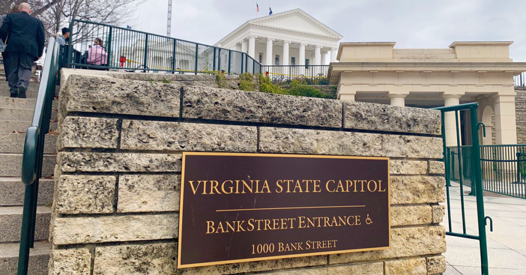 virginia state capitol building sign