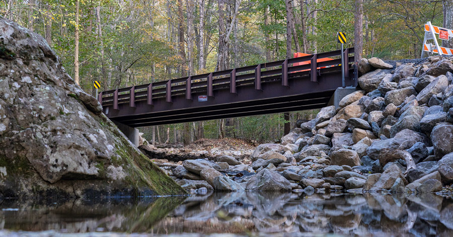 Whiteoak Canyon bridge after installation.