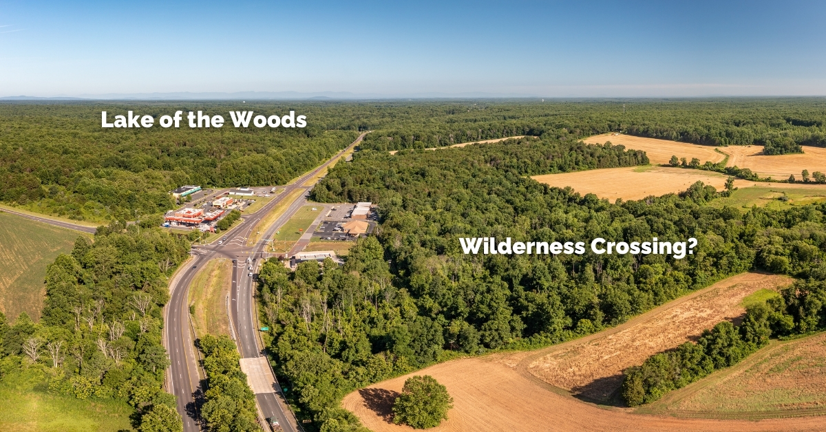 an aerial image of the wilderness crossing site